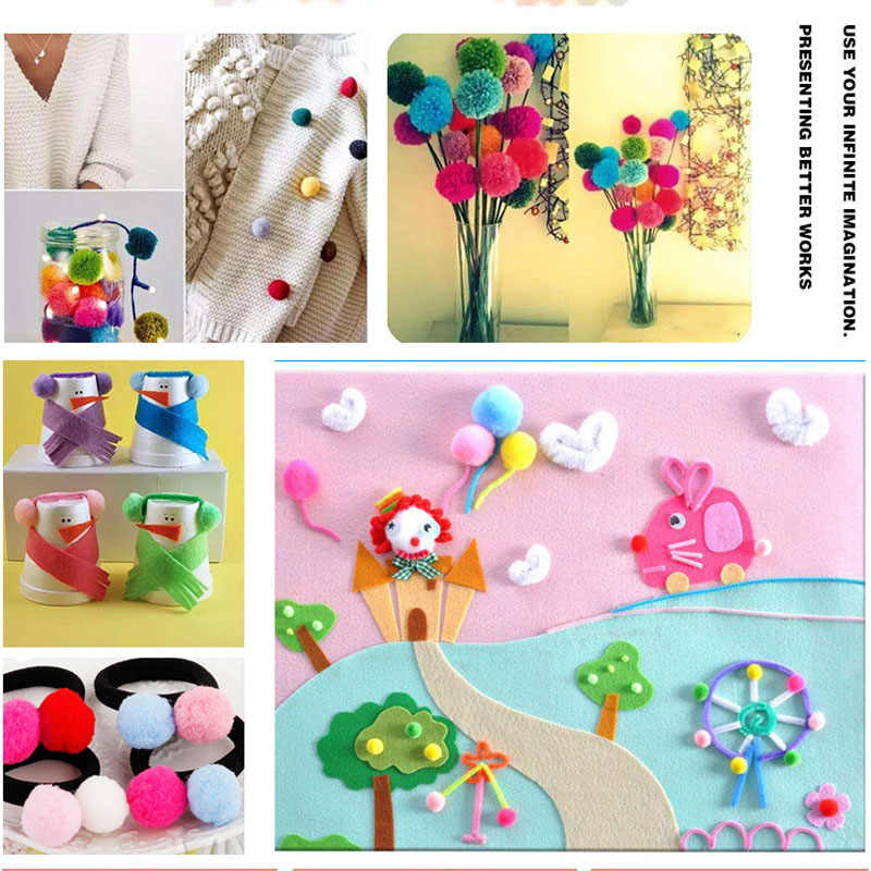 Pompon 10 มม. Multicolor Soft Fluffy Pompones Ball Handmade Mini Pompom Bricolage สำหรับของเล่นเด็กของเล่นเด็กของเล่น DIY หัตถกรรมวัสดุอุปกรณ์ 100 pcs