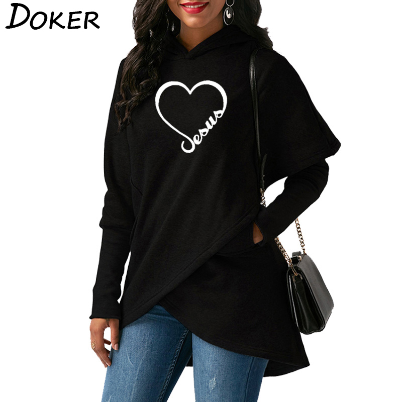 Women Hoodies Sweatshirts 2019 New Love Heart Jesus Faith Print Long Sleeve Hoodies Christmas Warm Hooded Sweatshirt Casual Tops