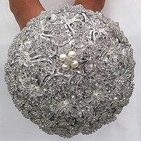 Quality assurance Durable Heavy Full Rhinestone Bride Bouquet Accept Custom Luxious Silver Diamond Brooch Bouquet for Wedding