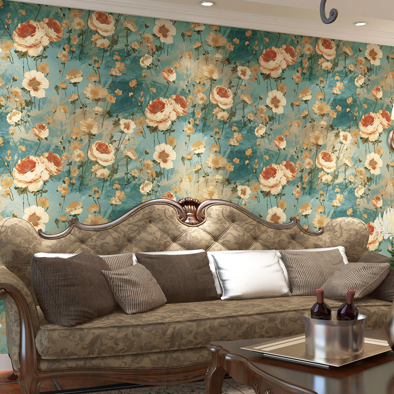 PAYSOTA Pastoral Style Big Chinese Oil Painting Wallpaper Bedroom Living Room Sofa Background Wall Paper Roll non woven bubble butterfly wallpaper design modern pastoral flock 3d circle wall paper for living room background walls 10m roll