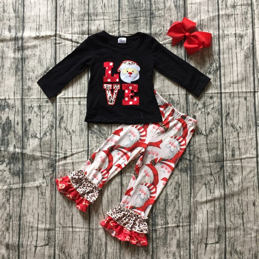 baby winter/fall girls boutique black red Santa claus print LOVE milk silk leoard pant children cotton clothes outfits match bow special offer clothing baby girls halloween outfits boutique children small boves are so scary pant cotton sets match accessory