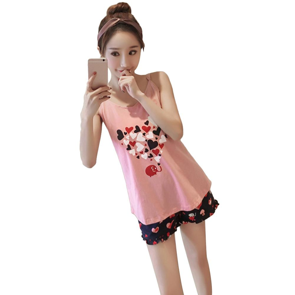 Cute Cartoon Women Lounge Hearts Elephant Print Backless Sleeveless Summer Sleepwear   Set   Vest Tee Shorts   Pajama     Sets