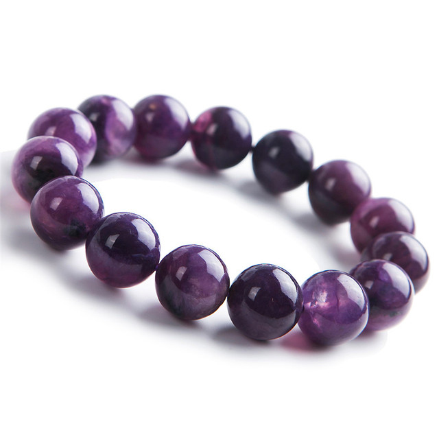 14mm Purple Crystal Round Bead Stretch Charm Bracelet For Women Femme Genuine Charoite Natural Stone Bracelets