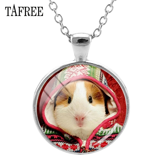 TAFREE Guinea Pig Pendants Necklace Charming Attractive Men Women Necklaces Statement Round Long Link Chain Animal Jewelry QF832