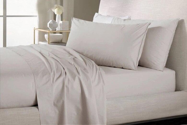 Ev ve Bahçe'ten Yatak Takımları'de 800 TC % 100% Mısır Pamuk Kral kraliçe Beyaz simli Bej renkler düz levha nevresim yastık kılıfı N adet set özelleştirmek'da  Grup 3