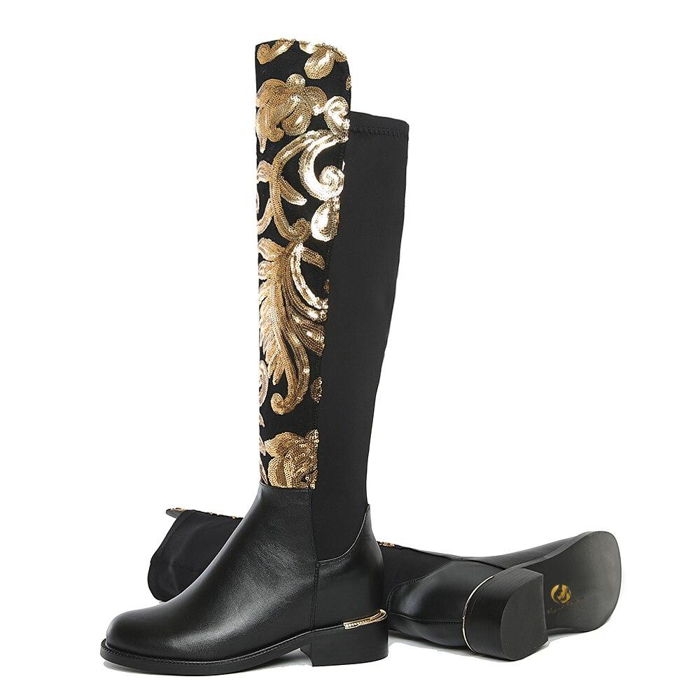 L'intention Femme Style Bout Véritable Bottes En Haute Noir Initiale Femmes Nouveau 4 Talons Chaussures Genou 10 Us Ef0267 Taille Carrés Rond Cuir rxaEqfrv