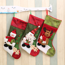 Cute Christmas Sock Santa Claus Snowman Elk Big Socks Candy Gift Bag Xmas Tree Decor Festival Party Supplies 2018 New Year E