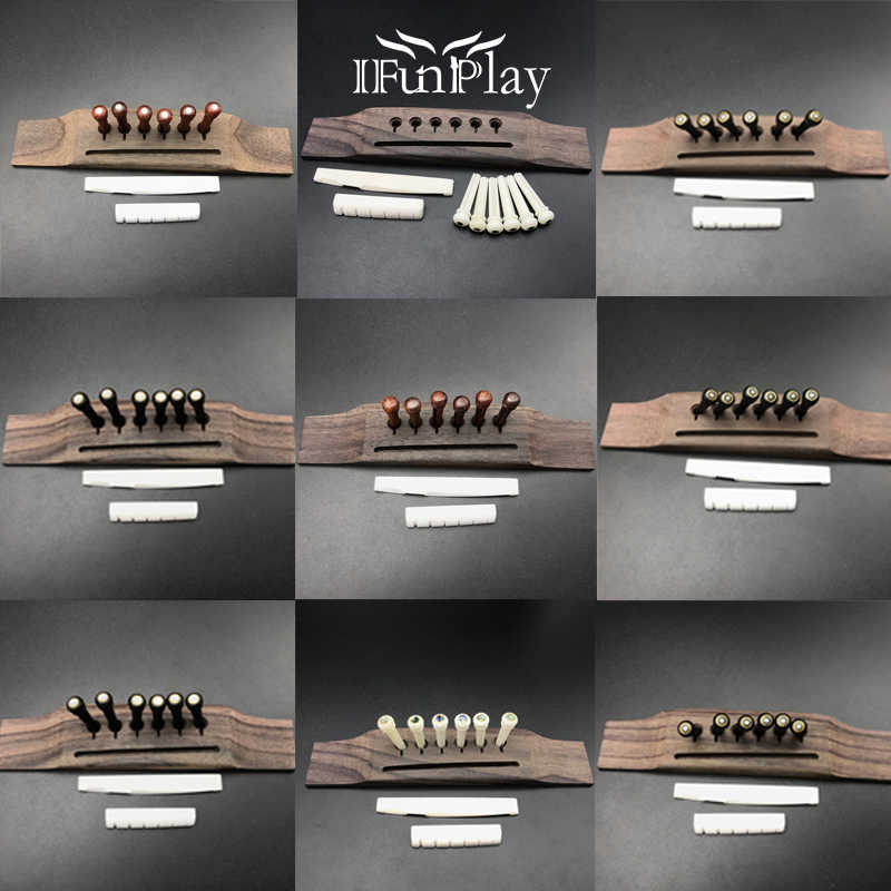 Acoustic Guitar Kit Rosewood Guitar Bridge 6pcs Pure Bone/Ebony/Rosewood/Cocobolo Bridge Pin Set of Bone Bridge Nut Saddle