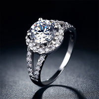 Fashion Simple White And Silver Inlaid Micro Transparent Zircon Lady Marriage Promise Ring MSR022