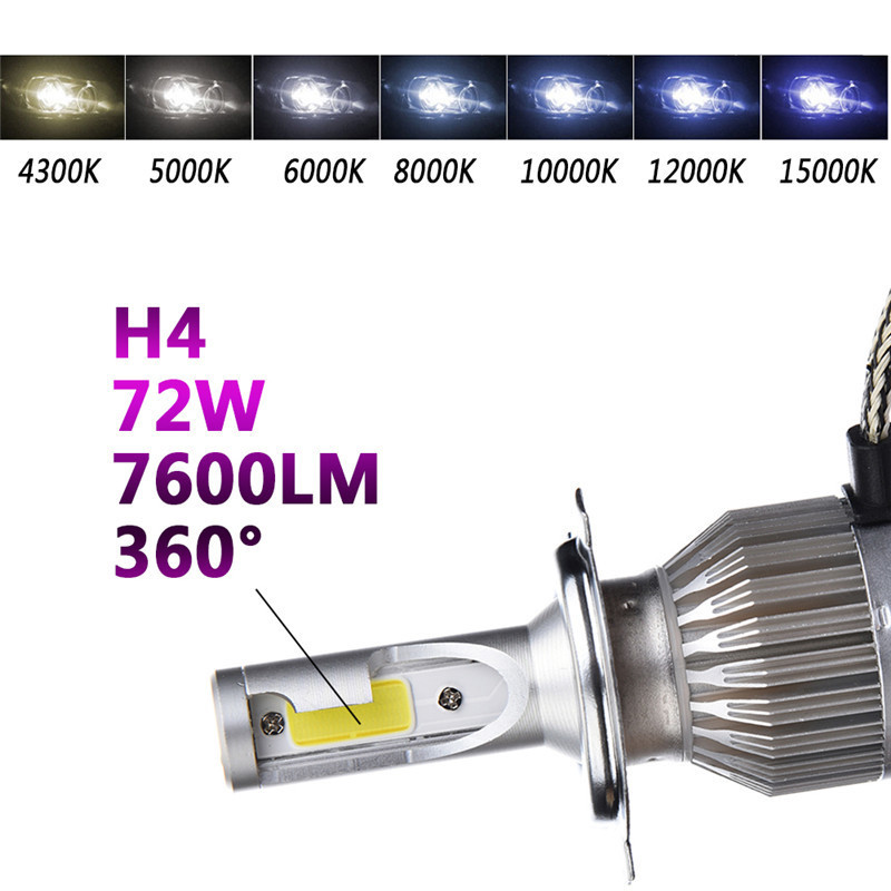 2Pcs LED Car Headlights H4 Auto Car Light Bulbs 72W 7600LM automobile headlamp 6000K White Lighting Bulb car styling auto h4 led bulb h7 lighting car led 12v lights h4 h7 h11 led lamps light bulbs headlights for cars led headlights