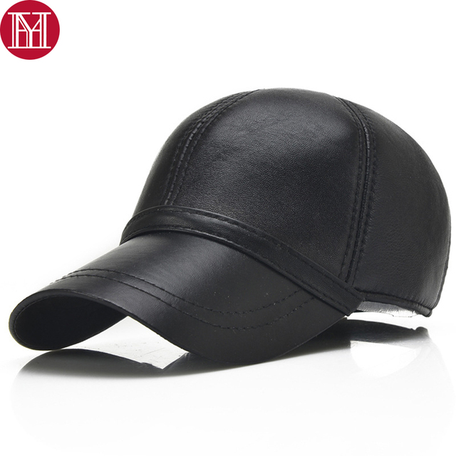 Men Real Sheepskin Leather Caps Male Casual Real Natural Sheep Skin Leather Baseball Hats New Fashion Fall Winter Leather Hat
