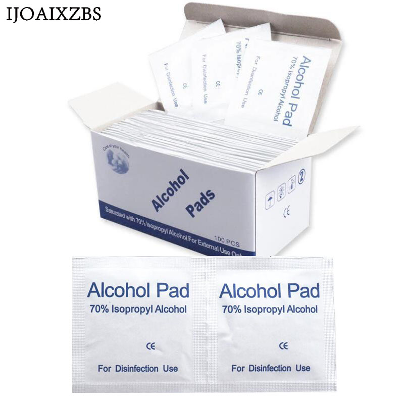 100Pcs Portable Alcohol Prep Pads Antiseptic Sterilization Swabs Wipes Cleanser 70% Alcohol Content First Aid Home Use