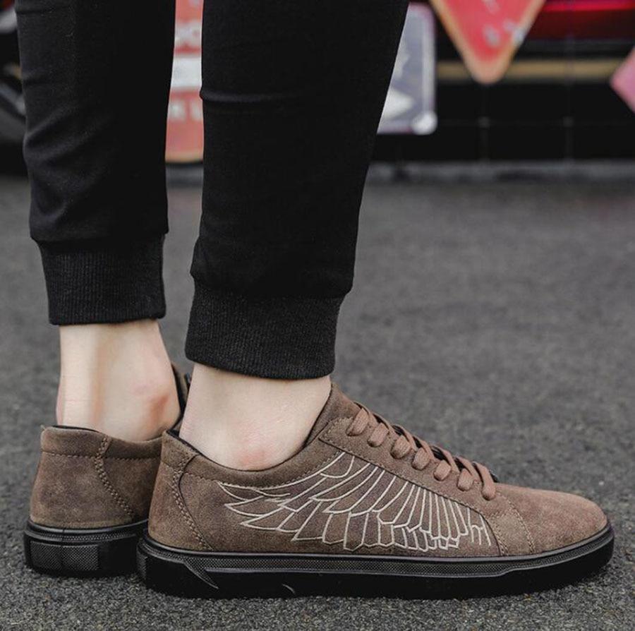 Totem Chaussures Spectacle Semelle Mode Polyvalent gris Casual Ailes Peau Tendance Hommes De Plat Style Broderie Gentleman marron Noir 16nwq4gC