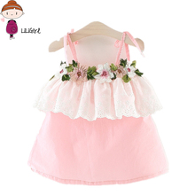 LILIGIRL Baby Dress For Girls Lace Cotton Flower Cool Suspender Princess Party Infant Newborn Clothing Breathable Kids Dresses