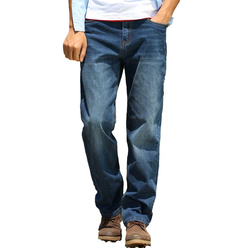 Mens Denim Loose Fit Straight   Jeans   Pants Black Blue Classic Cowboy Oversize Trousers Large Plus Size 30~48