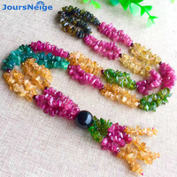 JoursNeige Tourmaline Natural Stone Necklace Irregular Beads Sweater Chain Crystal Necklace Lucky for Women Gift Popular Jewelry