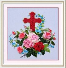 DIY 3D Ribbon Embroidery cross stitch kits sets simple handmade needlework/ red picture paintings