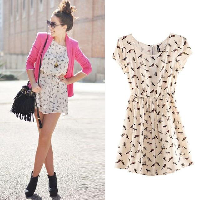 Frete grátis 2014 Bargain venda quente mulheres primavera verão nova moda Animal Print Mini vestido Vintage Plus Size S-XXXL