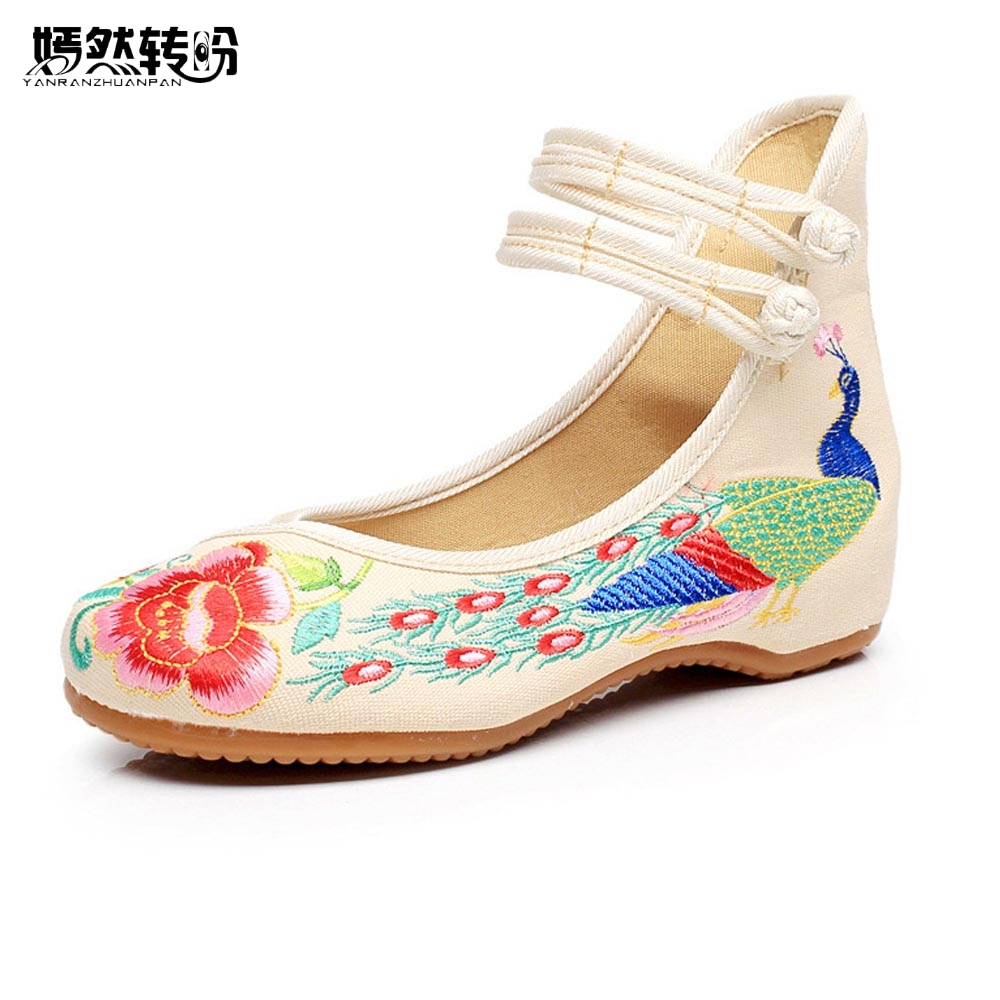 Vintage Women Flats Old Peking Shoes Chinese Flower Embroidery Comfortable Soft Canvas Dance Ballet Shoes Plus Size 41 peacock embroidery women shoes old peking mary jane flat heel denim flats soft sole women dance casual shoes height increase