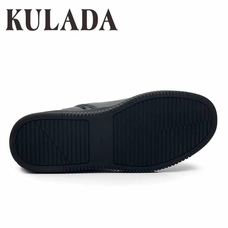KULADA yüksek kaliteli botlar erkekler ayak bileği kışlık ayakkabılar el yapımı açık çalışma deri çizmeler Vintage stil erkekler su geçirmez sıcak ayakkabı
