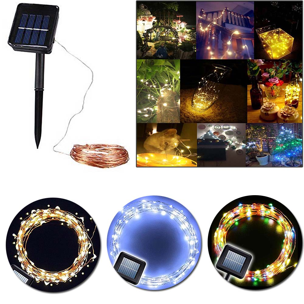 10pcs Solar Starry String Lights 33 Feet Copper Warm White 100 Led Outdoor Lights Ambiance Lighting for Garden Christmas