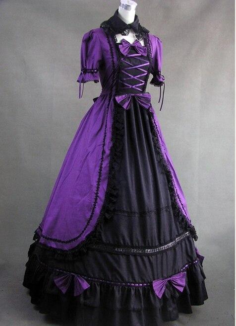 And Dress 18ème Pourpre Purple Et Coton Siècle Black Victorien Gothique Noir nwOX0k8P