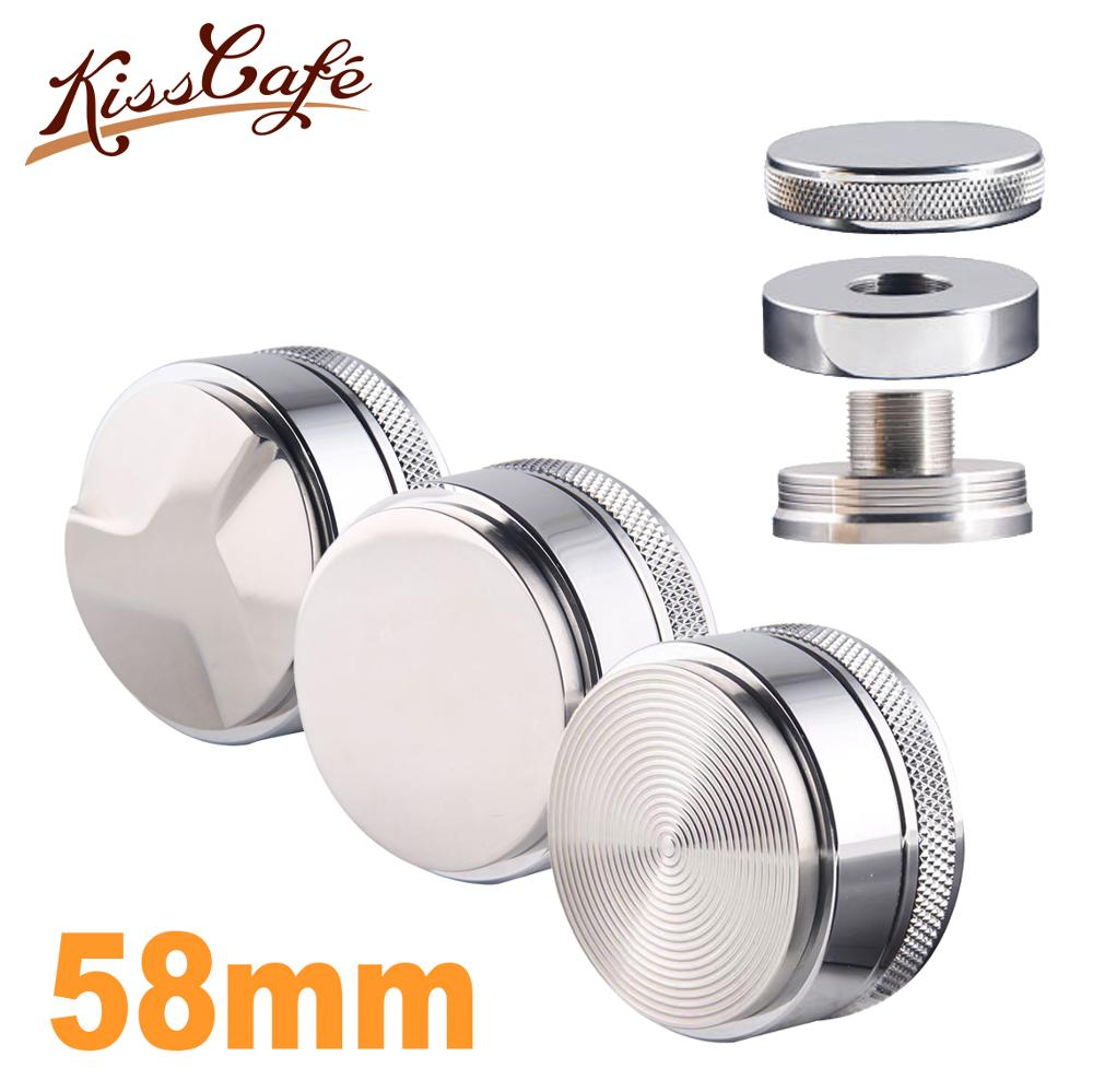 58mm Adjustable 304 Stainless Steel Coffee Espresso Tamper Silver Three Angled Slopes Base Flat/Thread Distribution Tools