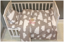 3pcs Cotton crib pink black white gray bedding set duvet Quilt Cover Baby Bed Sheet Pillowcase Cute clouds girl boy