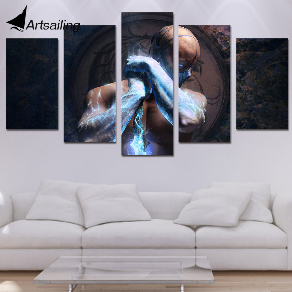 5 panel HD Dicetak sub-zero mortal kombat Lukisan di atas kanvas - Hiasan rumah - Foto 1