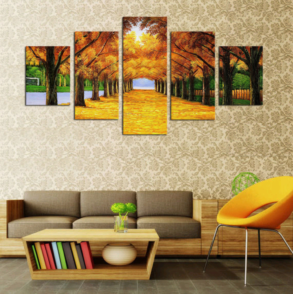 Unframed 5 Panels Nature Yellow GoldenTrees Canvas Print Painting ...