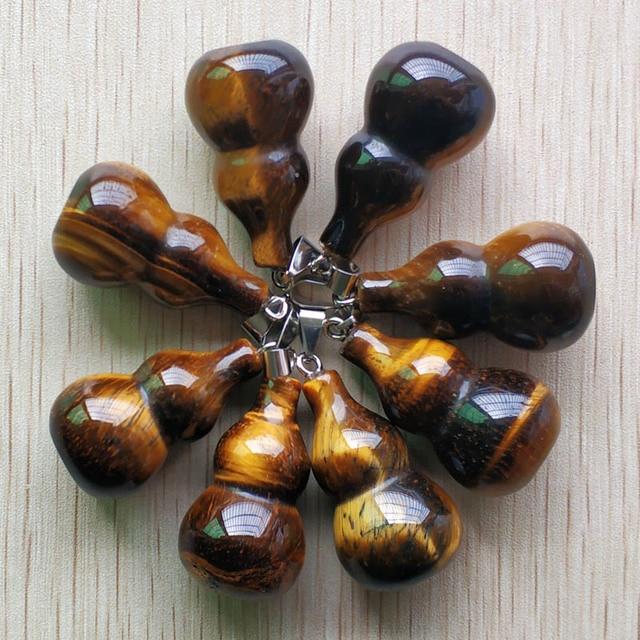 ขายส่ง 8 ชิ้น/ล็อตแฟชั่นคุณภาพดี natural tigers eye stone gourd shape จี้สำหรับเครื่องประดับทำจัดส่งฟรี
