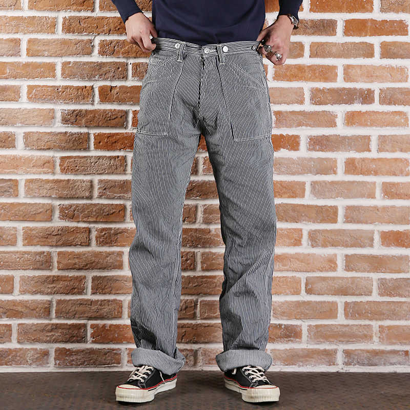 LOT.881 New arrival  bronson mans high waist straight stripe overalls trousers