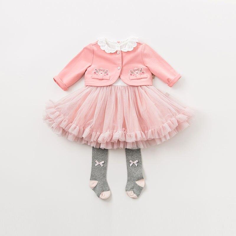 DBM9591 dave bella bébé fille robe à manches longues automne robes rose vêtements enfants fête d'anniversaire boutique robe - 3