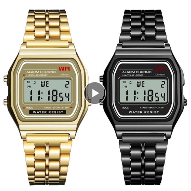 Women Men Wrist Watch LED Waterproof Quartz Dress Golden Sports Watches Man Watch 2019 Digital Relogio Sport Masculino