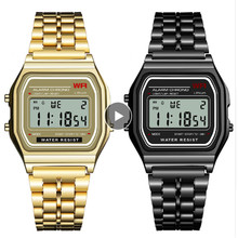 Women Men Wrist Watch LED Waterproof Quartz Dress Golden Spo