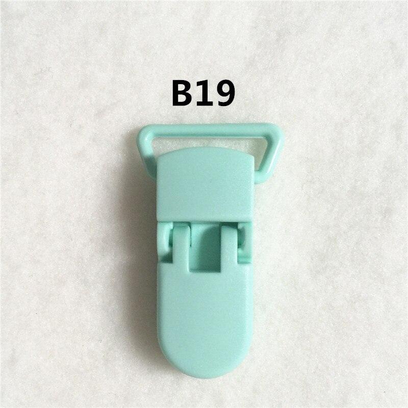 20 цветов) DHL 200 шт. 20 мм КАМ Пластик маленьких Соски NUK MAM пустышка Chain Зажимы чулок Зажимы - Цвет: B19