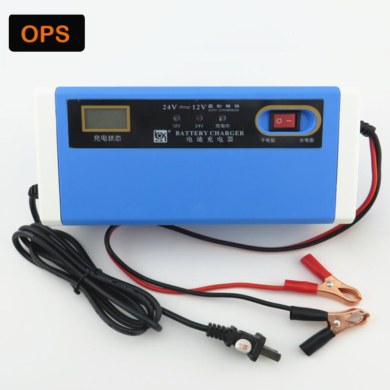 Smart LCD display <font><b>12V</b></font>/24V 10A repair Motorcycle/Carlead acid <font><b>battery</b></font> <font><b>Charger</b></font> For Rechargeable <font><b>Battery</b></font> 4AH-<font><b>200AH</b></font> image