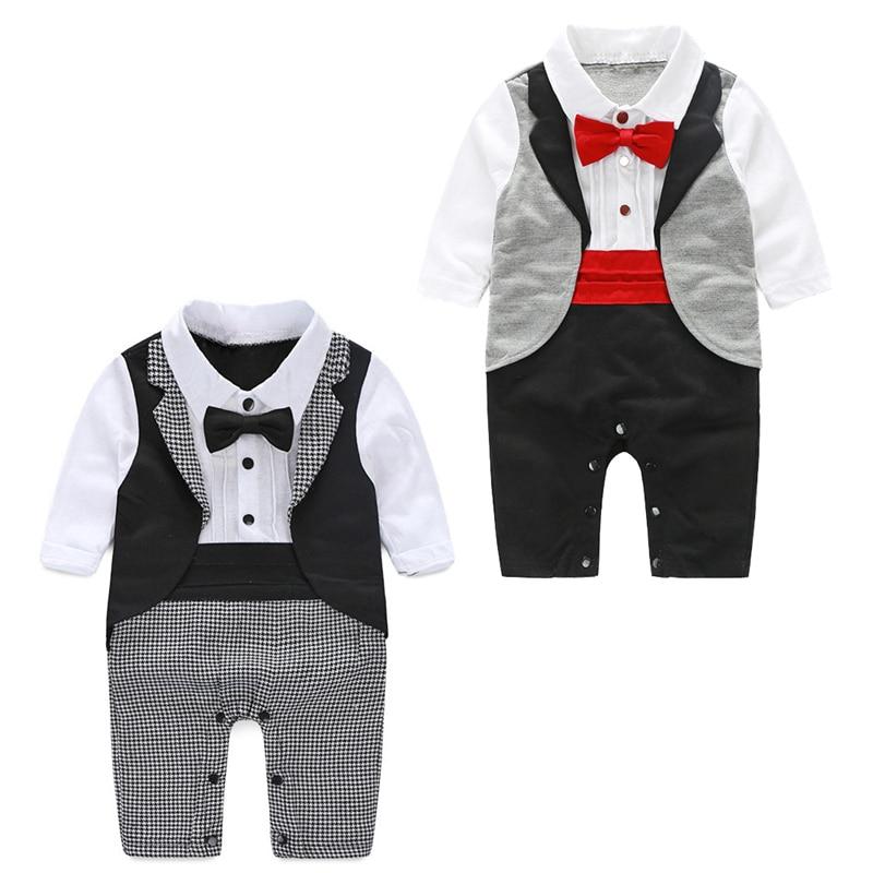 Baby Gentleman Tuxedo   Rompers   Bebe Menino infant Suit For Wedding Newborn Boys Jumpsuit Neck Tie Baby Wedding Suit Party Clothes
