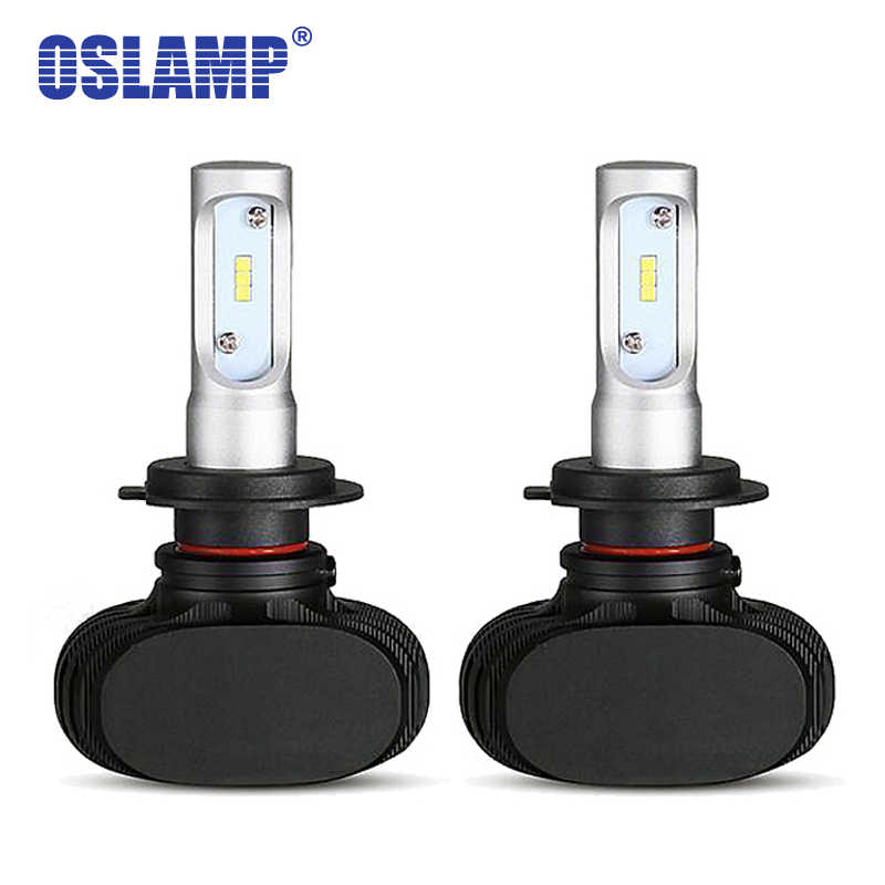 Oslamp CSP Chips 6500K White LED H7 Car Headlight Bulbs 50W Fanless Automobile Led Car Lamps For Renault AUDI SUV Toyota  Ford