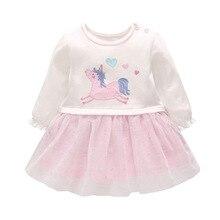 купить New Baby Girls Unicorn Clothing Birthday Baby Girl Dresses Long Sleeve Christening Gown 1-4Y Children Pink Lace Princess Dress дешево
