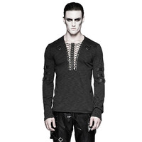 Gothic Chest Strap Black T Shirts Punk V Neck Long Sleeve Men T Shirts Long Sleeve Fitted Casual Tops