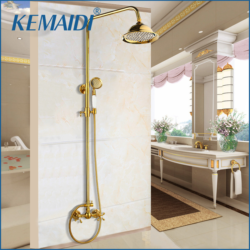 KEMAIDI Shower Faucets Gold Brass Bathroom Shower Mixer Tap Faucet Set Rain Shower Head Round Wall