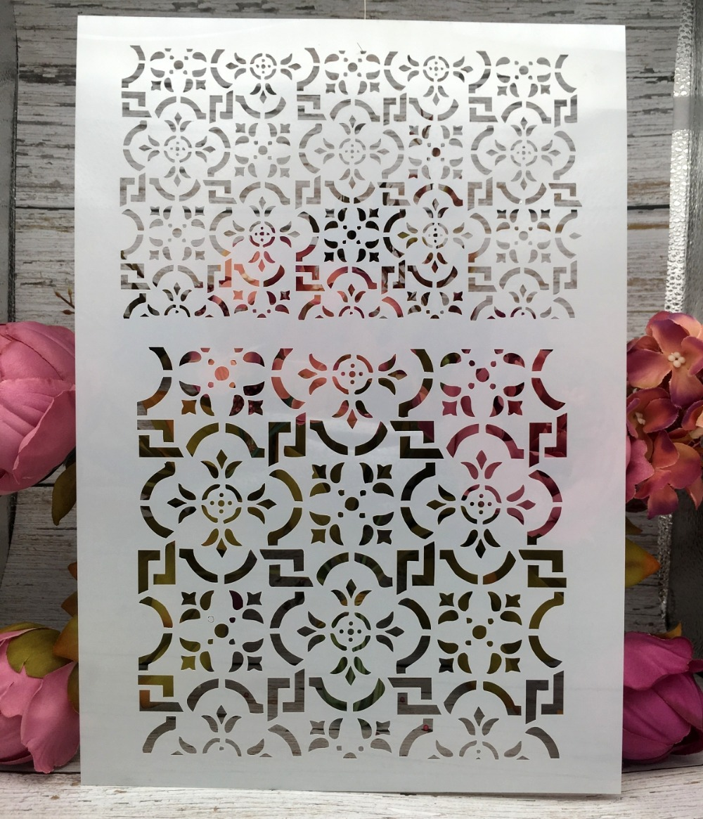 A4 Floral Frame DIY Layering Stencils Wall Painting Scrapbook Coloring Embossing Album Decorative Paper Card Template