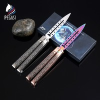 PEGASI New Style Magnectic Butterfly In Knife Stainless Steel Training Tool Folding Butterfly Knife No Edge