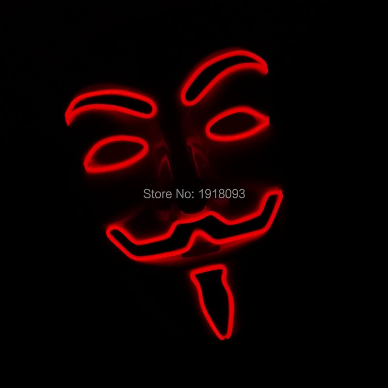 2019 New Design Flashing Red EL Wire Vendetta Mask Cosplay LED Mask Novelty Lighting For Party Supplies DC-3V Driver