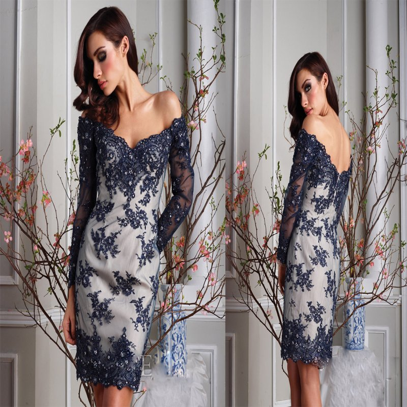 Brand New Off Shoulder Long Sleeves Navy Nude Scallop Lace Cocktail ...