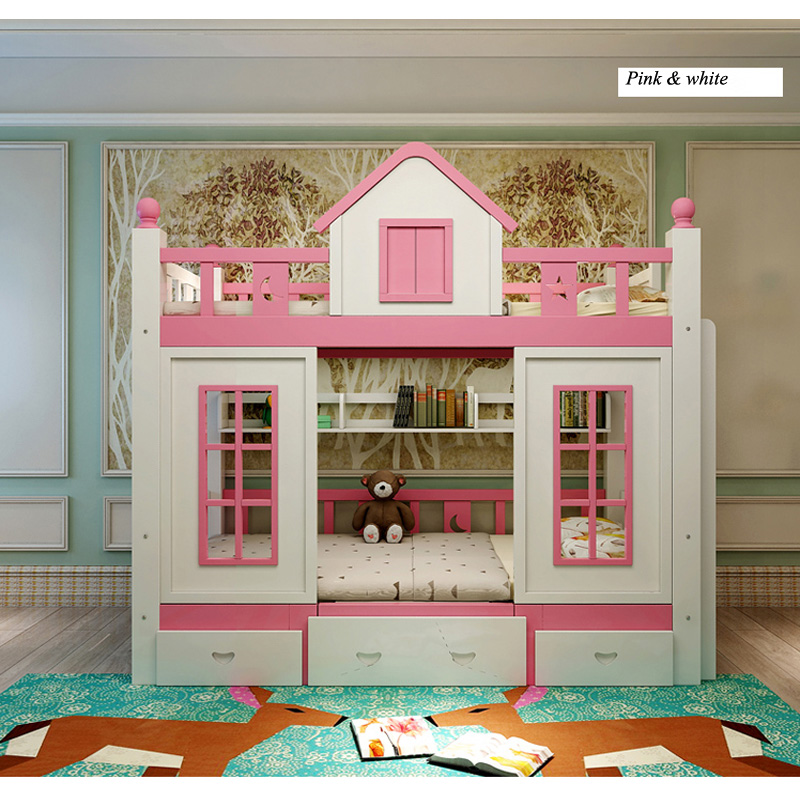 11  0128TB006 Fashionable kids bed room furnishings princess fortress with slide storages cupboard stairs double kids mattress HTB1sV1do3DD8KJjy0Fdq6AjvXXaP
