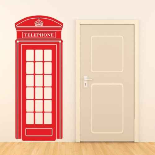 D0018 LONDON TELEPHONE BOX wall sticker retro uk phone decal mural art vinyl Wall Stickrs for Living Room Home Decoration