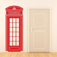D0018ロンドン電話ボックス壁ステッカーレトロ英国電話デカール壁画アートビニール壁stickrs用リビングルームホームデコレーション