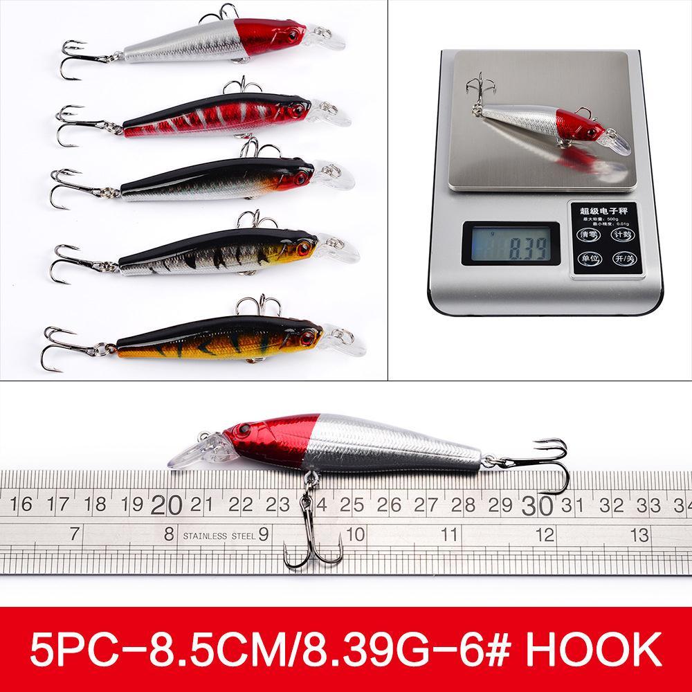 56pcs/set Mixed Fishing Minnow Lures Crank Bait Crankbait Treble Hook Tackle sinking fishing lures minnow crank bait crankbait tackle treble hook 5g 50mm 1pc